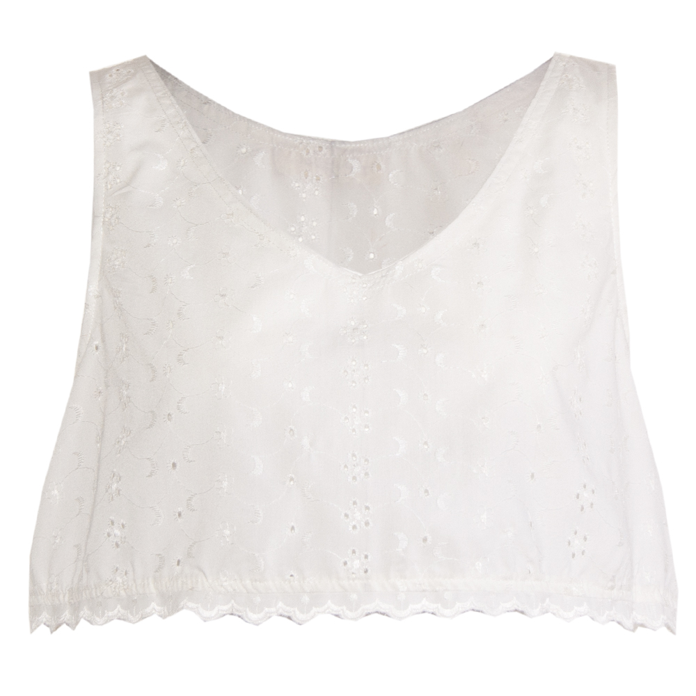 crop top bianco: pizzo sangallo | made in italy
