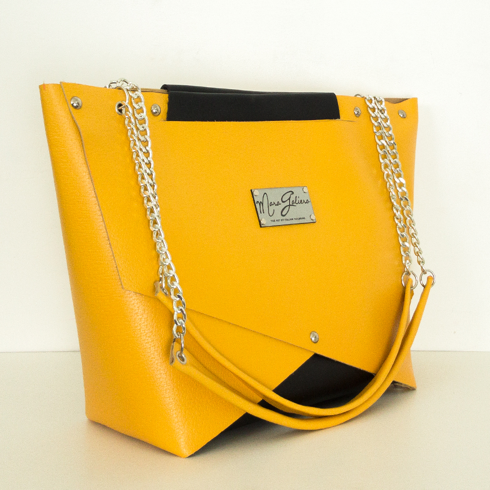 Shopping Bag gialla e nera : vera pelle saffiano | Donna
