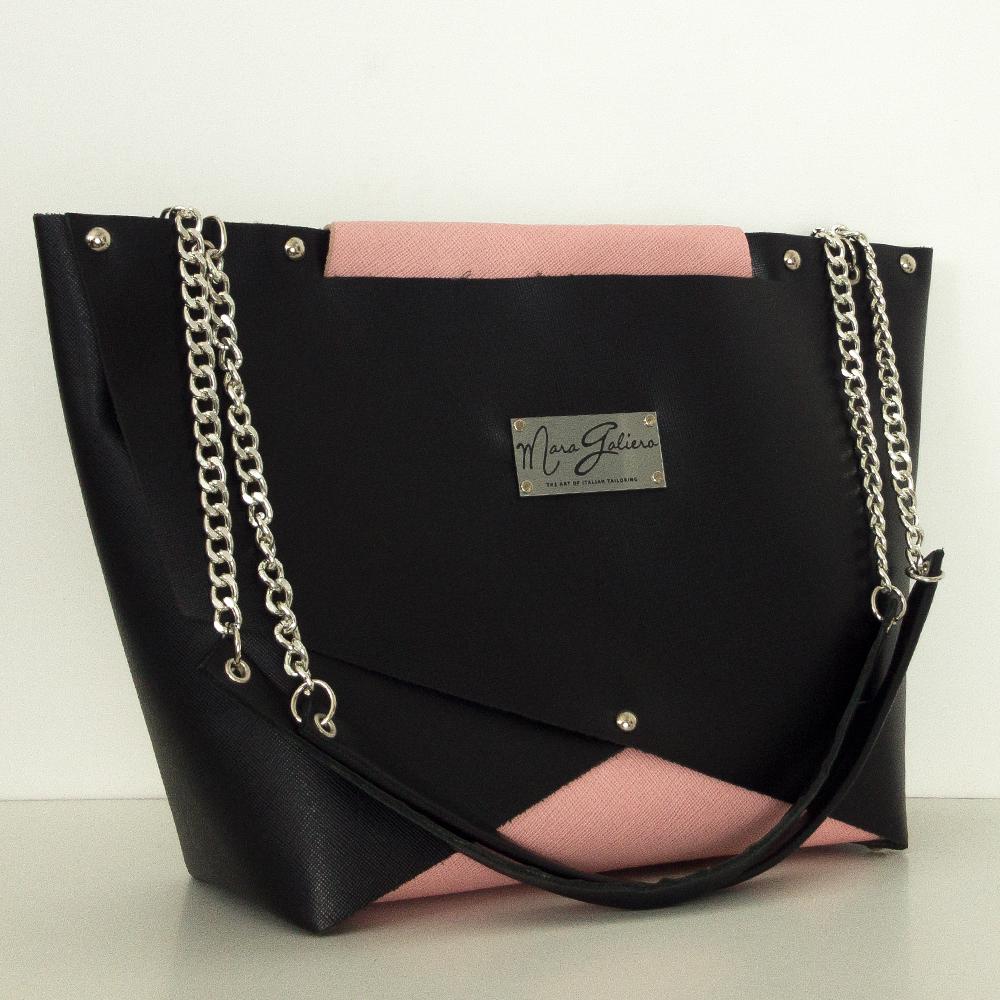 Shopping Bag nera e rosa : vera pelle saffiano | Donna
