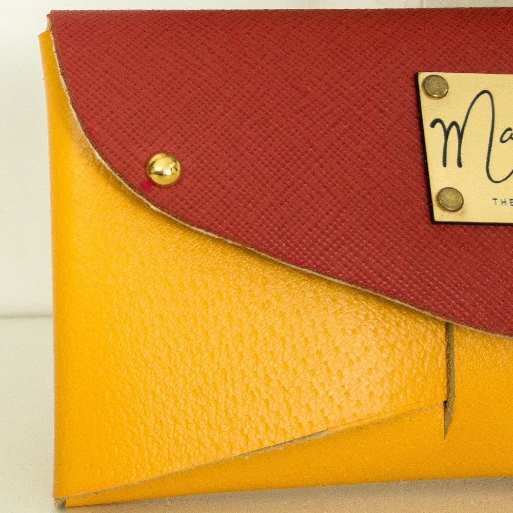 Portafoglio giallo: vera pelle saffiano | Donna