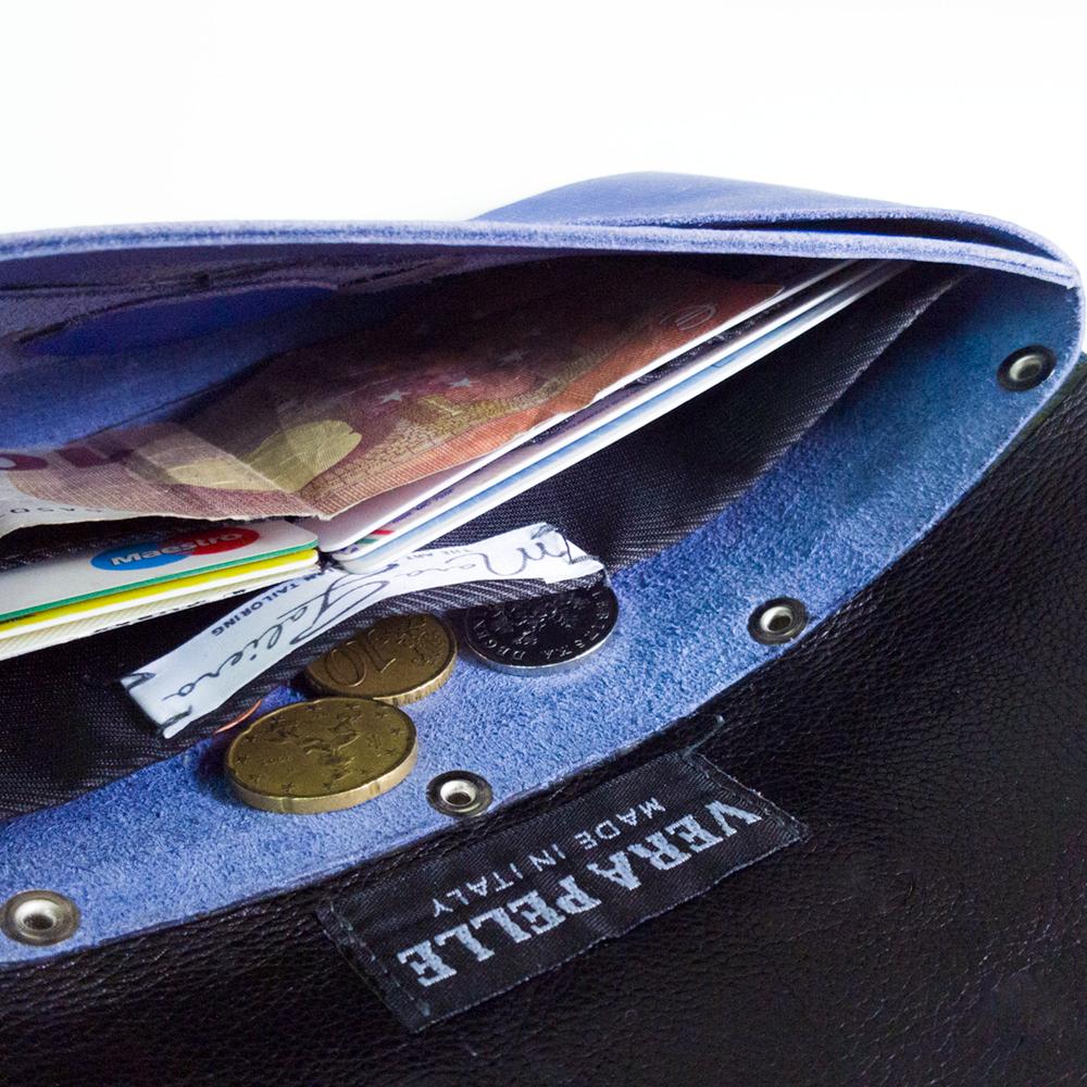 Origami wallet portafogli nero e blu  in vera pelle saffiano, realizzato con la particolare tecnica dell'origami, senza cuciture.