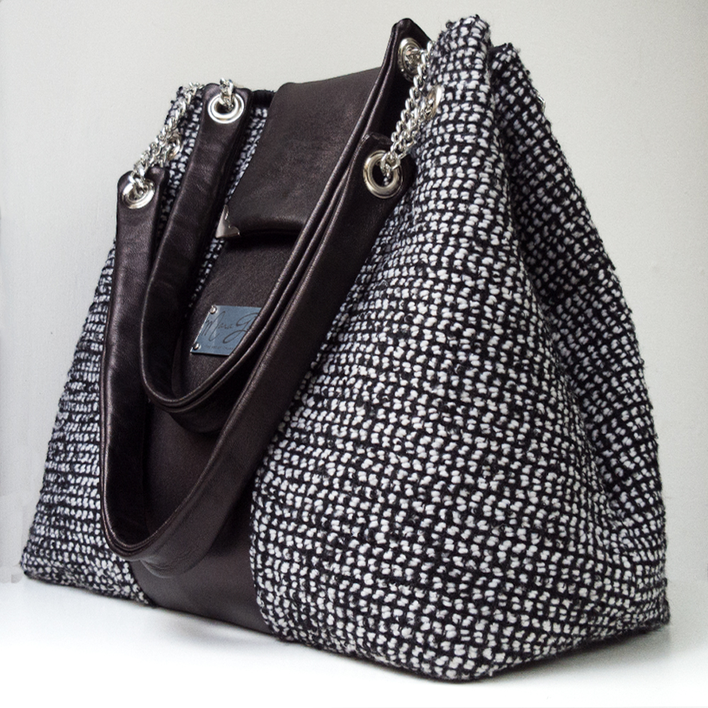 Shopping Bag Nera: vera pelle e tweed