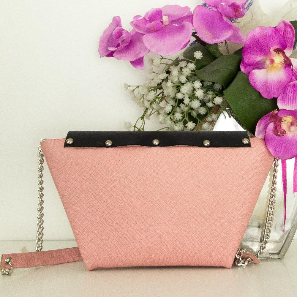 Origami Bag : pelle saffiano rosa e nero | made in italy