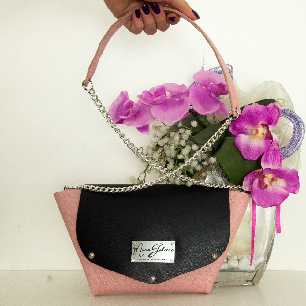 Origami Bag : pelle saffiano rosa e nero | made in italy