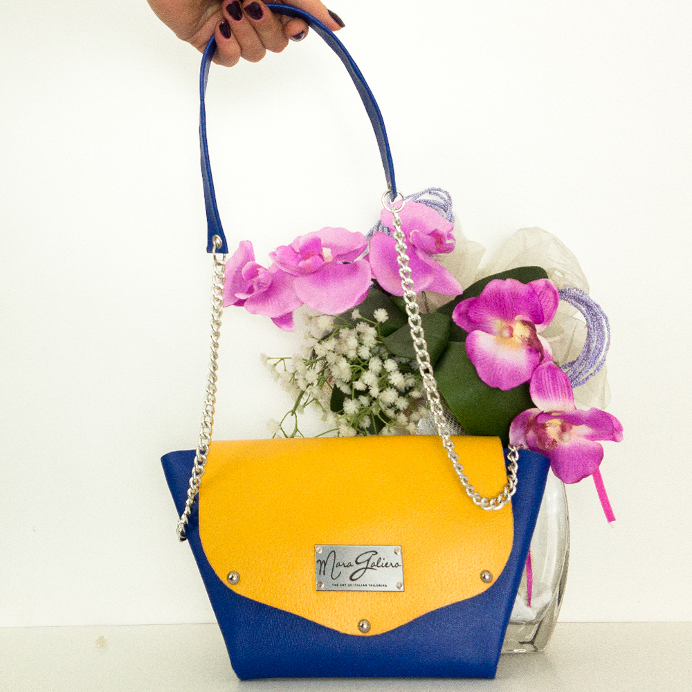 Origami Bag : pelle saffiano giallo e blu | made in italy