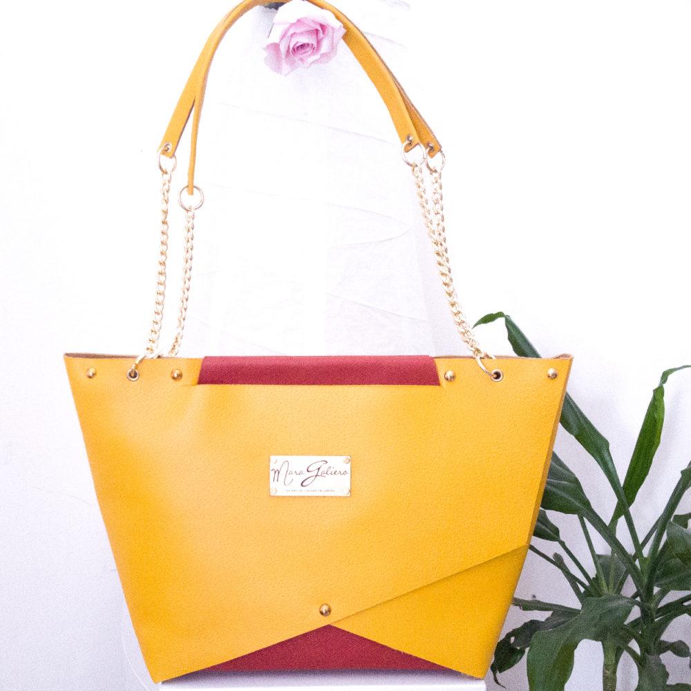 Shopping Bag gialla : vera pelle saffiano | Donna