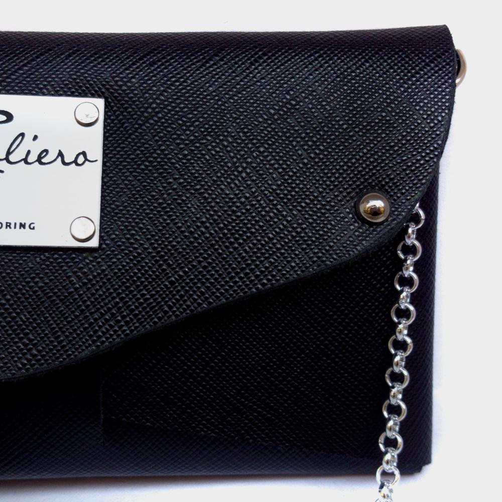 Portafoglio pelle saffiano: nero | Made in Italy
