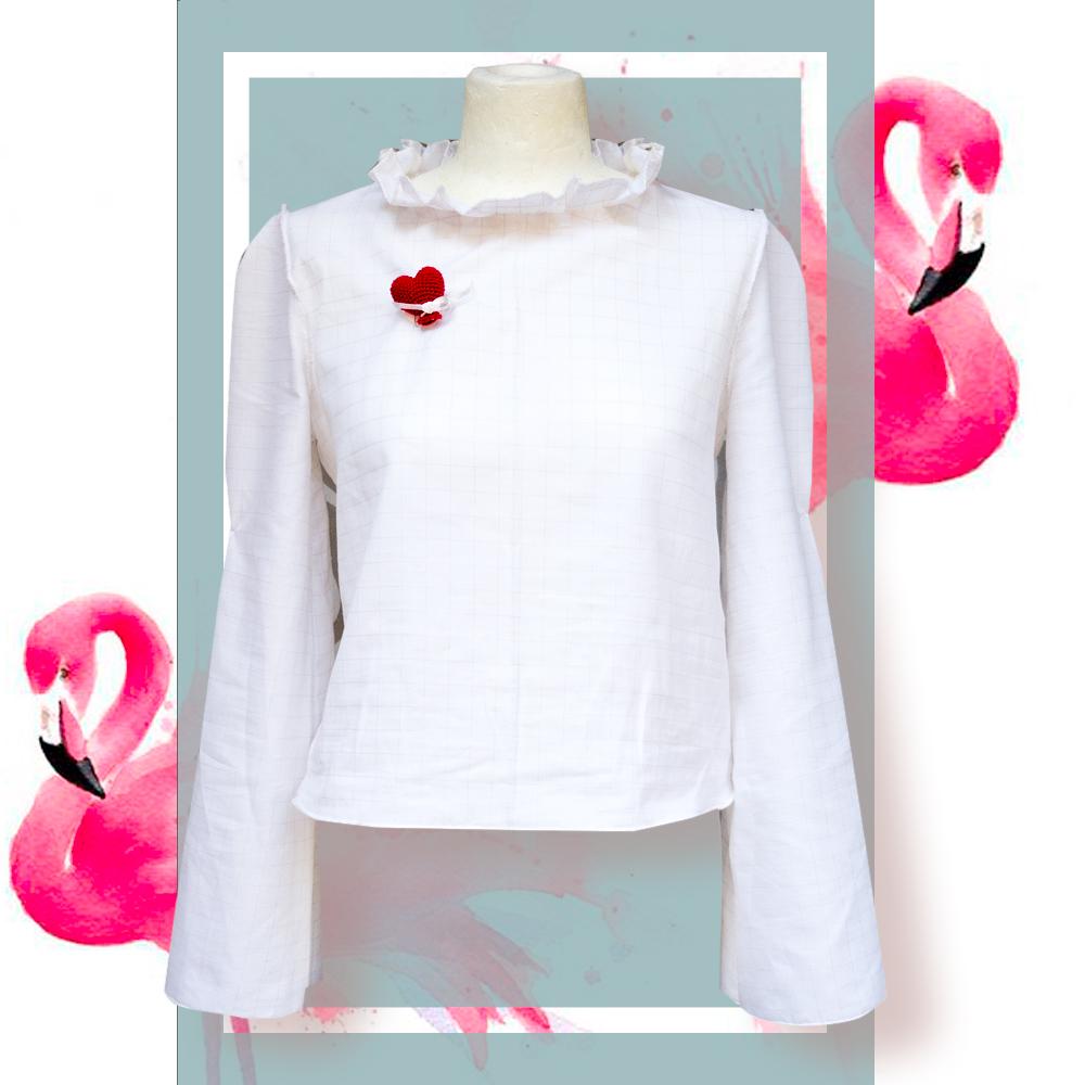 Camicia in cotone bianca: quadri rosa | donna