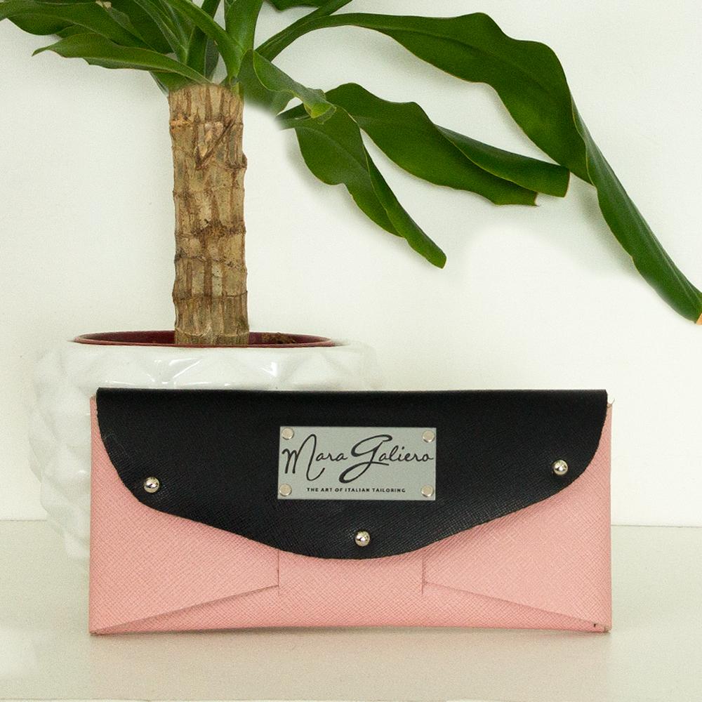 Portafoglio/Pochette pelle saffiano: nero e rosa | Made in Italy