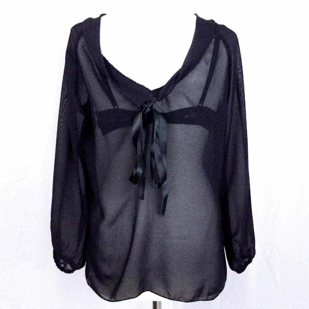 blusa trasparente: chiffon nero | scollo schiena