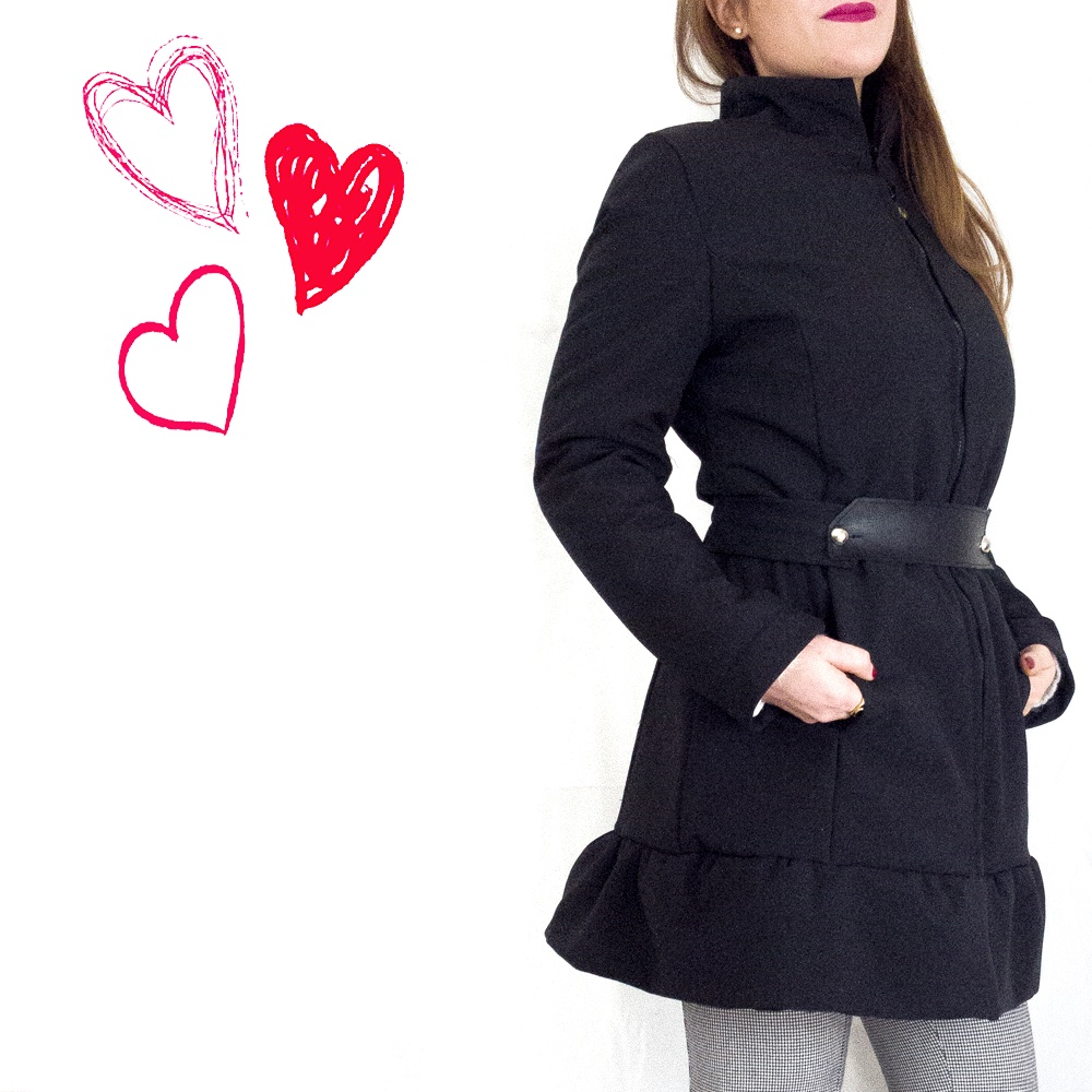 Cappotto nero donna : Softshell impermeabile | cintura in pelle