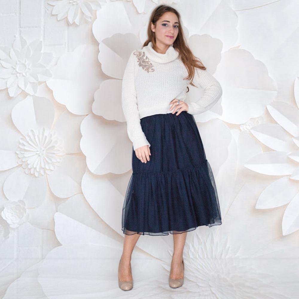 Maglione in lana bianca : applicazioni paillettes | collo alto