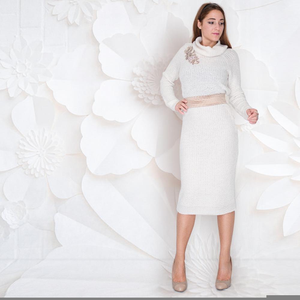 sale retailer 32989 20d5e Gonna longuette in lana: colore bianco | vita alta