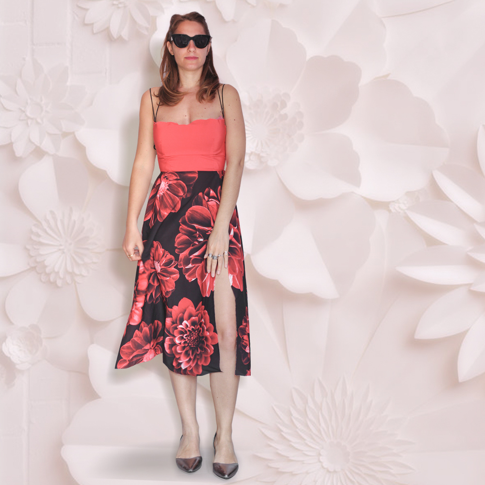 Vestito midi con gonna fiori : mid summer | scollo sul retro
